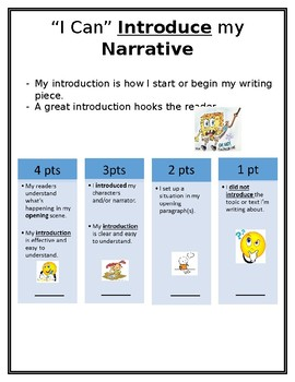 Kid Friendly Narrative Writing Rubric