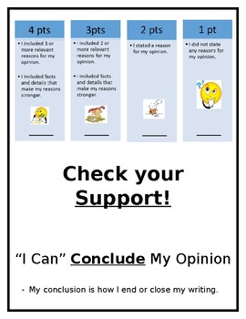Kid Friendly Opinion Writing Rubric