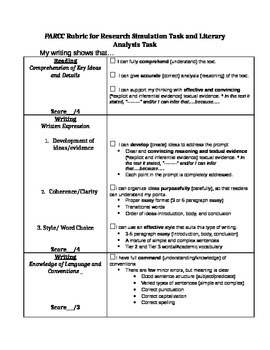 Kid-Friendly PARCC Writing Rubric (RST and LAT)