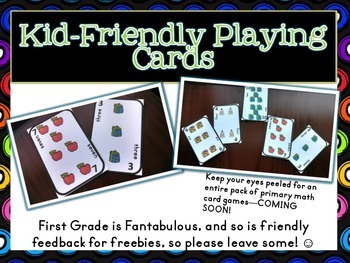 {FREEBIE} Kid-Friendly Playing Cards--Perfect for Primary Math Card Games