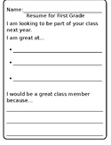 Kid Friendly Resume-Kinder to First