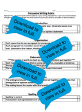 Kid Friendly Rubric Persuasive Writing Lucy Calkins Changi