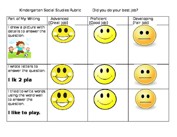 Kid Friendly Rubrics for Kindergarten