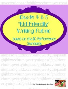 Kid Friendly Writing Rubric - Gr. 4/5