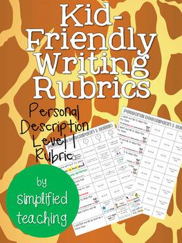 Kid-Friendly Writing Rubric Personal Description Level 1 {Simplified Teaching}