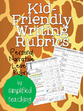 Kid-Friendly Writing Rubric Personal Narrative Level 1 {Si