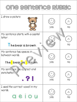 Kid-Friendly Writing Rubric for One Sentence Writing {Simplified Teaching}