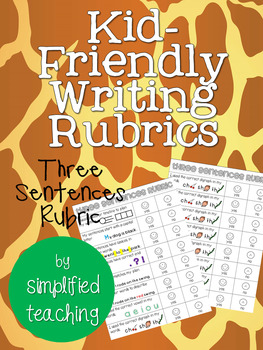 Kid-Friendly Writing Rubric for Three Sentence Writing {Simplified Teaching}