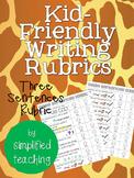 Kid-Friendly Writing Rubric for Three Sentence Writing {Si
