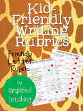 Kid-Friendly Writing Rubric for a Friendly Letter {Simplif