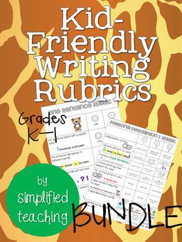 Kid-Friendly Writing Rubrics Grade K-1 BUNDLE {Simplified Teaching}