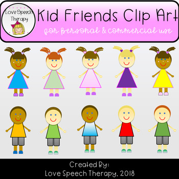 Kid Friends Clip Art - 10 Images for Personal and Commercial Use
