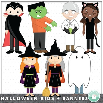 Halloween Clip Art Spooky Kid Costumes and Banners