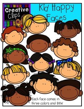 Kid Happy Faces {Creative Clips Digital Clipart}