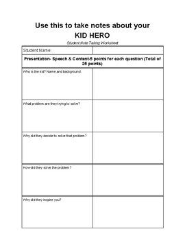 Kid Hero Project and Rubric