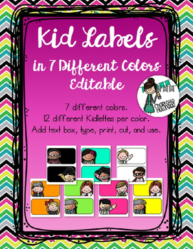Kid Labels in 7 Different Colors with 14 Different Kidlettes EDITABLE