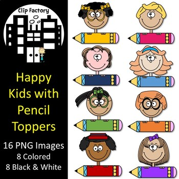 Happy Kids with Pencil Toppers Clip Art