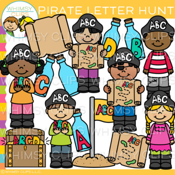 Kid Pirates Hunt for Letters Clip Art