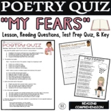 Kid Poetry Activities Worksheets Middle School Poem about Fears Reading Quiz