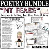 Kid Poetry Activities Worksheets Quiz Middle School Poem about Fears Bundle
