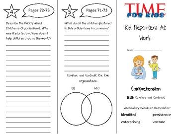 Kid Reporters At Work Trifold - Treasures 4th Grade Unit 1