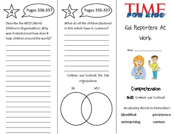 Kid Reporters At Work Trifold - Treasures 4th Grade Unit 3
