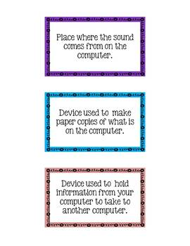 Computer Lab Vocabulary - 30 Flash Cards