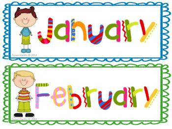 Kid Theme Calendar Headers