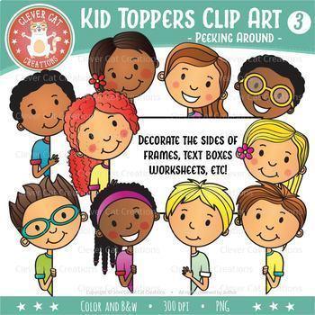 Kid Toppers Clip Art - Kids Peeking Around!