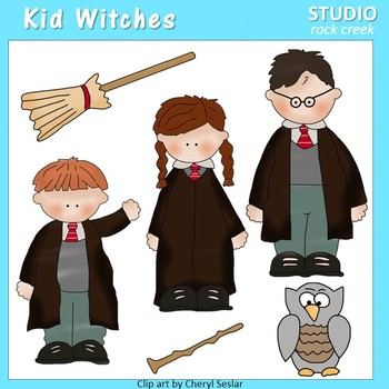 Harry Potter Kid Witches Color Clip Art  C. Seslar wand broom kids