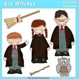 Harry Potter Kid Witches Color Clip Art  C. Seslar wand broom kids