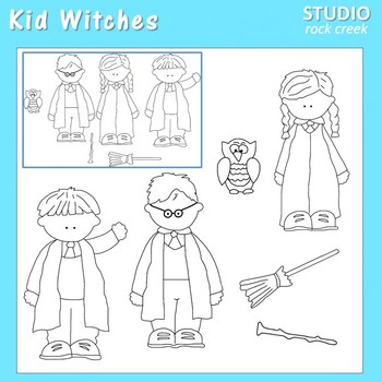 Kid Witches Line Drawings Clip Art  C. Seslar wand broom kids