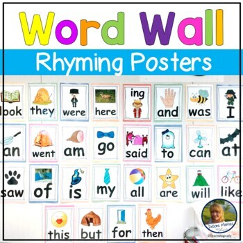 Beginning of the Year Rhyming Activity Posters of Sight Words for Writing