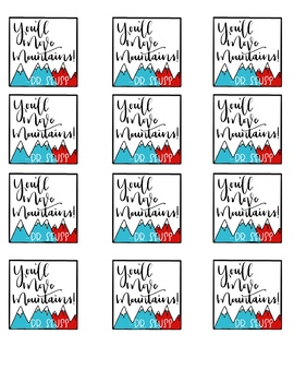 Kid, You'll Move Mountains Gift or Cookie Tag - Dr. Seuss Celebration