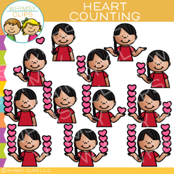 Kid and Hearts Valentine Counting Clip Art