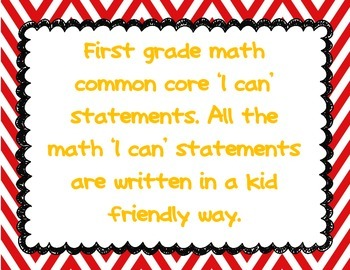 Kid friendly I can statements for the common core standard
