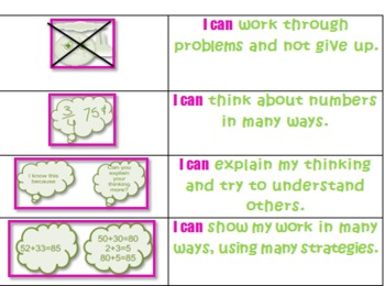 Kid friendly mathematical practices - pink and green