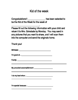 Kid of the Week Form
