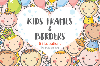 Several illustrations with happy kids: frames, borders, corners.