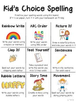 Kid's Choice Spelling Menu