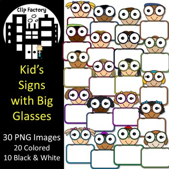 Kid's Signs with Big Glasses Clip Art