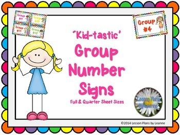 'Kid-tastic' Group Number Signs  Back To School