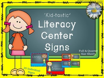'Kid-tastic' Literacy Center Signs  Back To School
