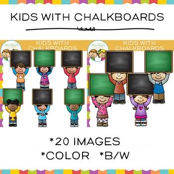 Kids with Chalkboards Clip Art
