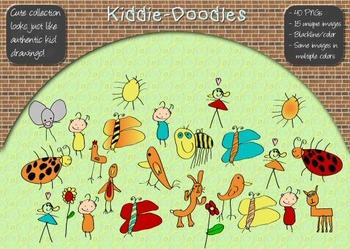 Kiddie-Doodles Childlike Clip Art 40 PNGs