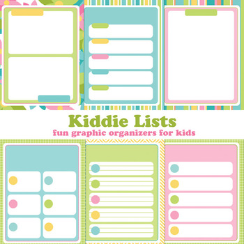 Kiddie Lists: Printable Graphic Organizers for Kids