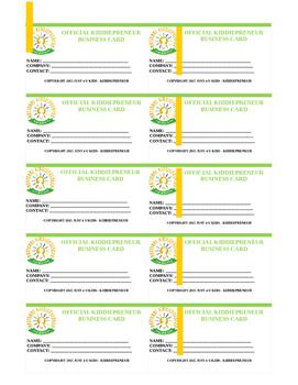 KiddiePreneur Business Cards - Template