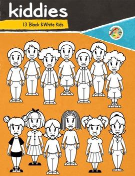 Kiddies- Black& White Kids Clip Arts