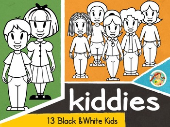 Kiddies- Black& White Kids Clip Arts