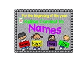 Beginning of the Year Name Activities--Kiddos Connect to Names